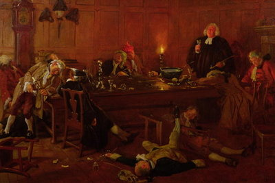 The Reverend Geoffrey Shovel, Chaplain of the Fleet, with his drinking companions Fine Art Print by Thomas Davidson
