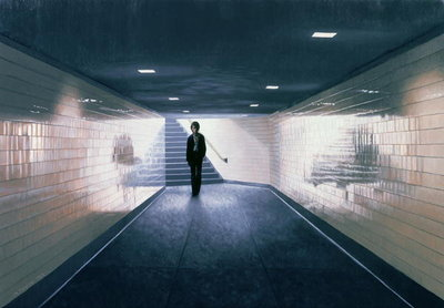 Man Entering Subway Station, 1983 Poster Art Print by Max Ferguson