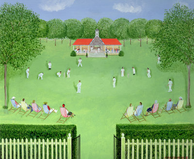 The Cricket Match, 1981 Poster Art Print by Mark Baring