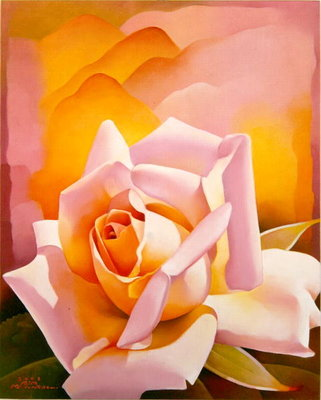 The Rose, 2003 (oil on canvas) Fine Art Print by Myung-Bo Sim