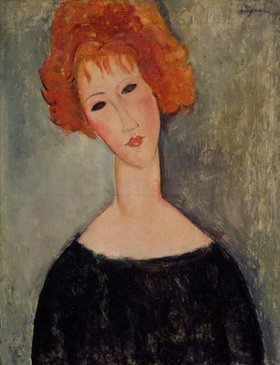 Red Head Fine Art Print by Amedeo Modigliani
