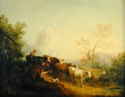 Herdsmen Driving Cattle towards a Post Postcards, Greetings Cards, Art Prints, Canvas, Framed Pictures, T-shirts & Wall Art by Thomas Gainsborough