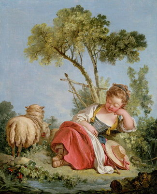 The Little Shepherdess, c.1754 Wall Art & Canvas Prints by Francois Boucher
