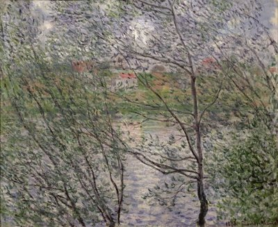 The Banks of the Seine or, Spring through the Trees, 1878 Postcards, Greetings Cards, Art Prints, Canvas, Framed Pictures, T-shirts & Wall Art by Claude Monet