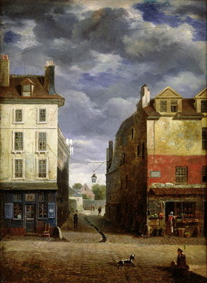 A Street in Old Paris Fine Art Print by French School