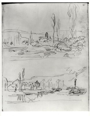 Two Sketches: Vetheuil from L'Ile St-Martin and Tugboat on the Seine before Lavacourt, before 1886 Fine Art Print by Claude Monet