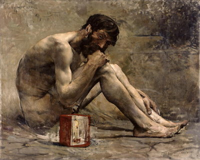 Diogenes, 1905 (oil on canvas) Postcards, Greetings Cards, Art Prints, Canvas, Framed Pictures, T-shirts & Wall Art by Jules Bastien-Lepage