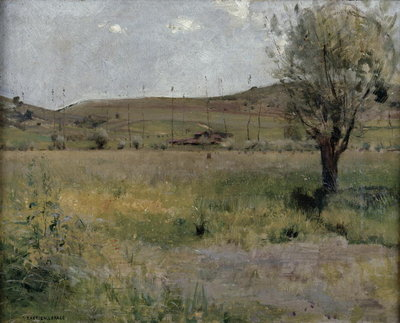 Summer landscape (oil on canvas) Postcards, Greetings Cards, Art Prints, Canvas, Framed Pictures & Wall Art by Jules Bastien-Lepage