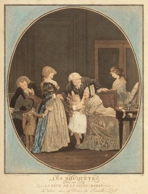 The bouquets or Gand Ma feast, dedicaced to housewives Fine Art Print by Philibert Louis Debucourt