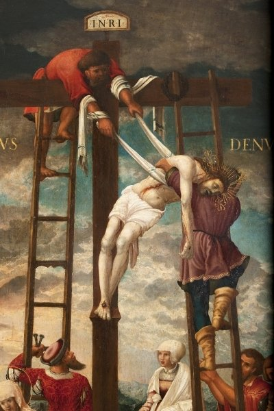 Descent of the Cross, detail Poster Art Print by Hans Muelich or Mielich