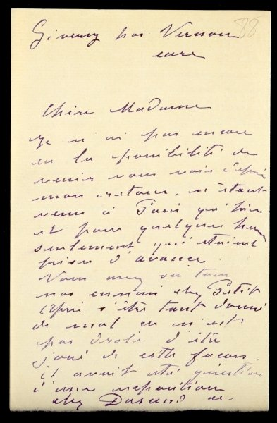 Letter from Claude Monet to Berthe Morisot, 1888 Poster Art Print by Claude Monet