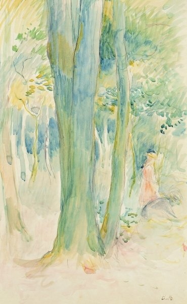 Under the trees in the wood, 1893 Poster Art Print by Berthe Morisot