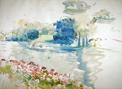 Geraniums by the lake, 1893 Fine Art Print by Berthe Morisot