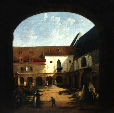 The convent courtyard of Petits-Augustins in Paris, c.1818 Wall Art & Canvas Prints by Etienne Bouhot