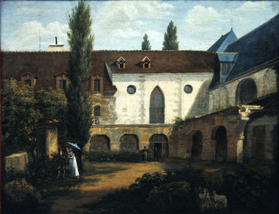The convent courtyard of Petits-Augustins a Paris, c.1818 Wall Art & Canvas Prints by Etienne Bouhot