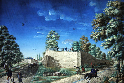 View of a terrace on the outskirts of Paris, c.1810 Poster Art Print by Antoine Pierre Mongin
