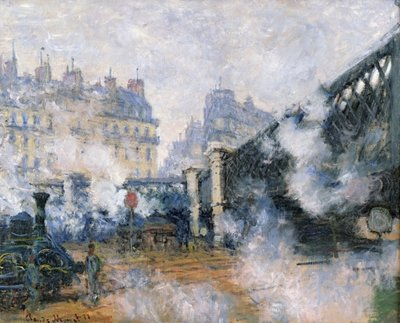 The Pont de l'Europe, Gare Saint-Lazare, 1877 Postcards, Greetings Cards, Art Prints, Canvas, Framed Pictures, T-shirts & Wall Art by Claude Monet