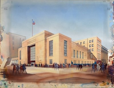 Farmers and Mechanics Savings Bank (gouache & w/c on paper) Fine Art Print by American School