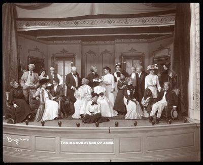"A scene from an amateur production of a play titled ""The Manoeuvers of Jane"" presented at Barnard College, New York Wall Art & Canvas Prints by Byron Company"