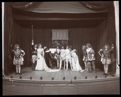 "A scene from an amateur production of ""The Taming of the Shrew"" presented at Barnard College, New York Fine Art Print by Byron Company"