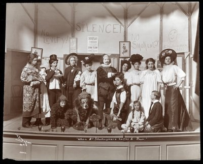 "The cast from an amateur production of a play titled ""When Mr. Shakespeare Comes to Town"" presented at Barnard College, New York Wall Art & Canvas Prints by Byron Company"