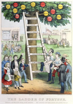 The Ladder of Fortune, pub. by Currier and Ives, New York, 1875 Postcards, Greetings Cards, Art Prints, Canvas, Framed Pictures, T-shirts & Wall Art by American School