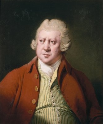 Portrait of Richard Arkwright, half length, in a red coat, white stock and yellow and green waistcoat Postcards, Greetings Cards, Art Prints, Canvas, Framed Pictures, T-shirts & Wall Art by Joseph Wright of Derby