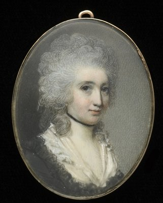 A lady, wearing brown dress with black lace border and white fichu, black ribbon choker, her hair powdered, early 1780s Fine Art Print by George Engleheart