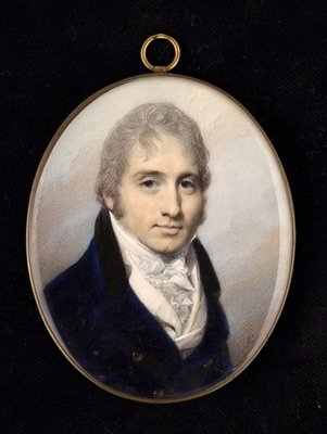 Portrait miniature of a gentleman in a navy coat and white shirt Fine Art Print by George Engleheart