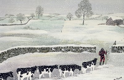 Cotswold: Winter Scene Fine Art Print by Maggie Rowe