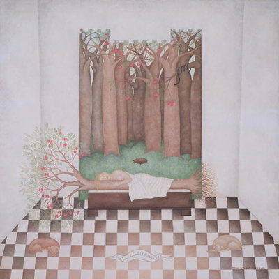 Eve Sleeping with the Tree of Wisdom, 1999 (oil on canvas) Wall Art & Canvas Prints by Mary Stuart