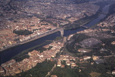 Aerial View of the River Arno, Florence Postcards, Greetings Cards, Art Prints, Canvas, Framed Pictures, T-shirts & Wall Art by Anonymous