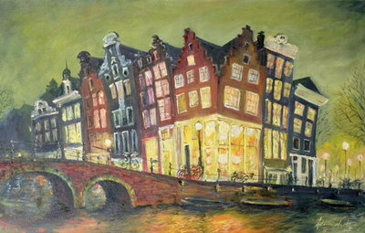 Bright Lights, Amsterdam, 2000 (oil on canvas) Fine Art Print by Antonia Myatt