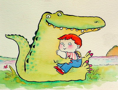 Crocodile Hug, or Best Friends (pen & ink and w/c on paper) Wall Art & Canvas Prints by Maylee Christie