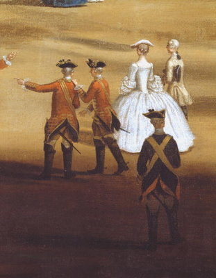 Soldiers and a couple in Horseguards Parade, c.1758 Fine Art Print by Samuel Wale