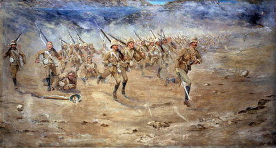 Return of the Fore and Aft, Gloucestershire Regiment advancing to the attack, India North West Frontier, 1897 Postcards, Greetings Cards, Art Prints, Canvas, Framed Pictures, T-shirts & Wall Art by Edward Matthew Hale