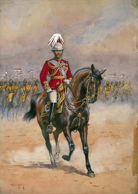 His Majesty the King Emperor, 1910, illustration for 'Armies of India' by Major G.F. MacMunn, pub. 1911 Poster Art Print by Alfred Crowdy Lovett