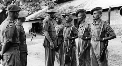 Major General Sir Frank Messervy inspecting Indian Army troops in Burma, 1944 Fine Art Print by English Photographer
