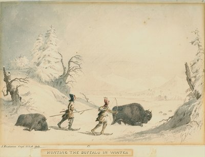 Hunting the Buffalo in Winter Wall Art & Canvas Prints by Captain Seth Eastman