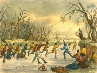 Ball play on the ice, 1853 Wall Art & Canvas Prints by Captain Seth Eastman