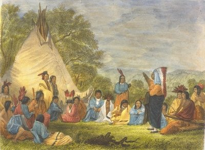 Indians in Council, 1853 Wall Art & Canvas Prints by Captain Seth Eastman