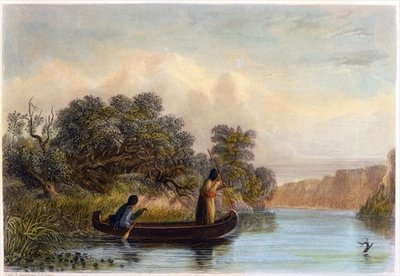 Spearing Fish from a Canoe, 1853 Wall Art & Canvas Prints by Captain Seth Eastman