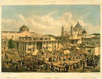 Iturbide Market, Old St. John Sq, Mexico City Fine Art Print by Mexican School