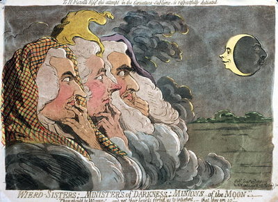 Weird Sisters; Ministers of Darkness; Minions of the Moon, published by Hannah Humphrey, 1791 Fine Art Print by James Gillray