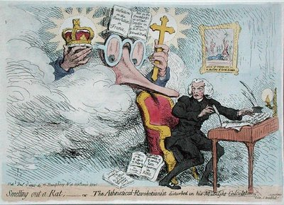 Smelling out a Rat, or The Atheistical-Revolutionist disturbed in his Midnight 'Calculations', published by Hannah Humphrey in 1790 Poster Art Print by James Gillray