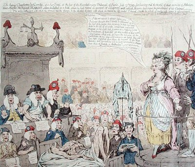 The heroic Charlotte la Corde Fine Art Print by James Gillray