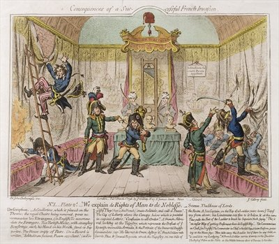 Consequences of a Successful French Invasion, or We Explain de Rights of Man to the Noblesse, 1798 Fine Art Print by James Gillray