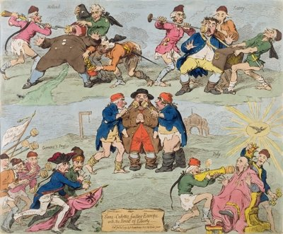 Sans-Culottes Feeding Europe with the Bread of Liberty, published by Hannah Humphrey in 1793 Fine Art Print by James Gillray