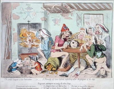 Un Petit Souper a la Parisienne, or A Family of Sans-Culottes Refreshing after the Fatigues of the Day, published by Hannah Humphrey in 1792 Postcards, Greetings Cards, Art Prints, Canvas, Framed Pictures, T-shirts & Wall Art by James Gillray