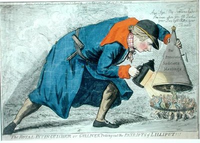 The Royal Extinguisher, or Gulliver Putting Out the Patriots of Lilliput, published by S.W. Fores in 1795 Fine Art Print by James Gillray